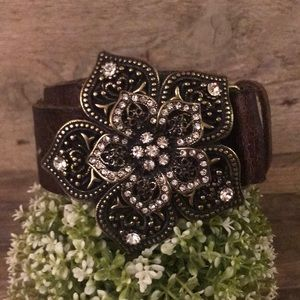 GUESS leather bejeweled belt